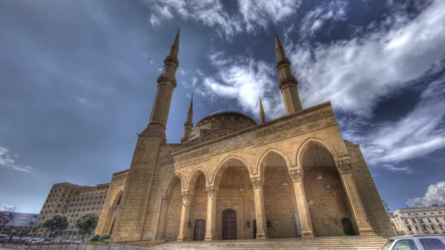 Time lapse shot around the exterior of a mosque in Beirut.