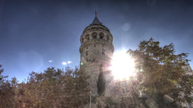 Time lapse shot around the exterior of the Galata Tower in Istanbul.