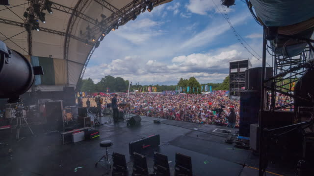 Time lapse shot back stage at major UK music festival.