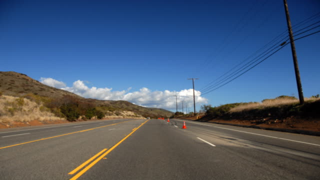Time lapse shot driving Mulholland Highway on a sunny day in Los Angeles.