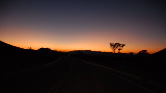 time lapse shot driving through joshua tree in the mojave desert as the day ends. - albero di giosuè video stock e b–roll
