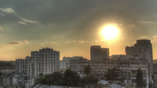 Time lapse shot from dusk to night across the city of Odessa.