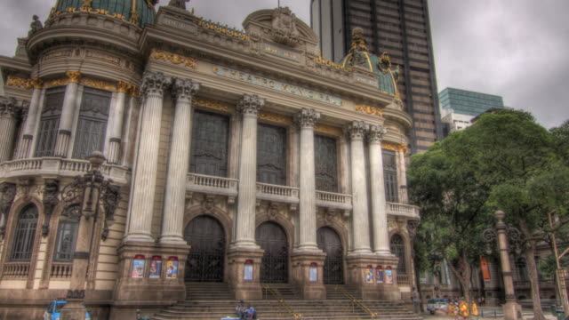 Time lapse shot moving past the exterior of the Theatro Municipal theatre in Rio de Janeiro.
