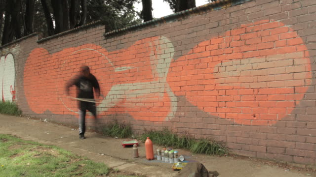 Time lapse shot of a street artist spraying a design onto a wall in Bogota.