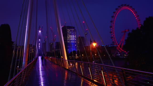 Time lapse shot of a sunrise from the Golden Jubilee Bridge, London.