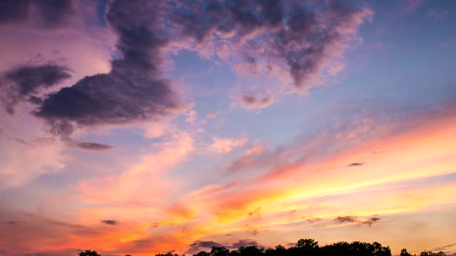 Time Lapse Shot of Beautiful Sunset and Moving Clouds, Dramatic sky