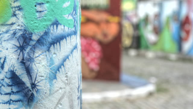 Time lapse shot of brightly coloured street art in Sao Paulo.