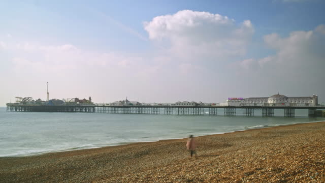 time lapse shot of brighton's palace pier. - brighton england stock videos and b-roll footage