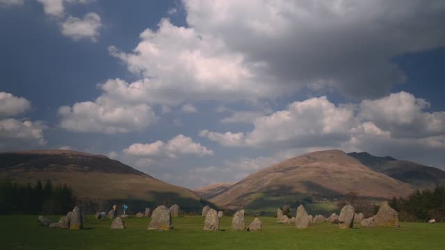 time lapse shot of castlerigg stone circle general views of the lake district on may 22, 2013 in windermere, england - raw footage stock videos & royalty-free footage