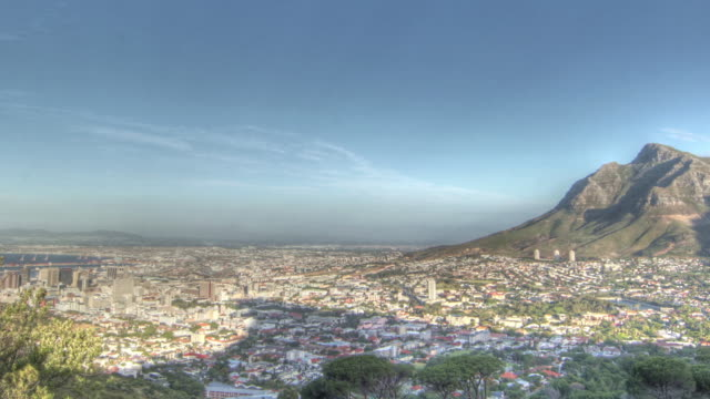 Time lapse shot of cloud shadows moving over the city of Cape Town.