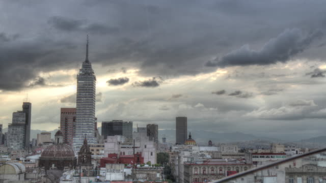 Time lapse shot of clouds drifting over Mexico City.