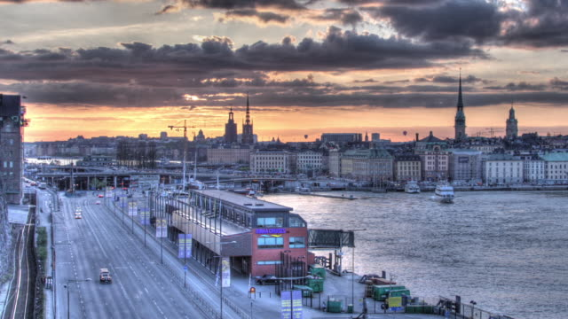 Time lapse shot of clouds drifting over the city of Stockholm.