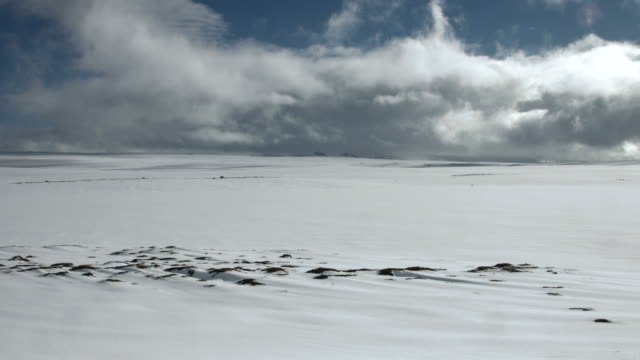Time lapse shot of clouds scudding across a snowy landscape in the Snaefellsnes area of Iceland.