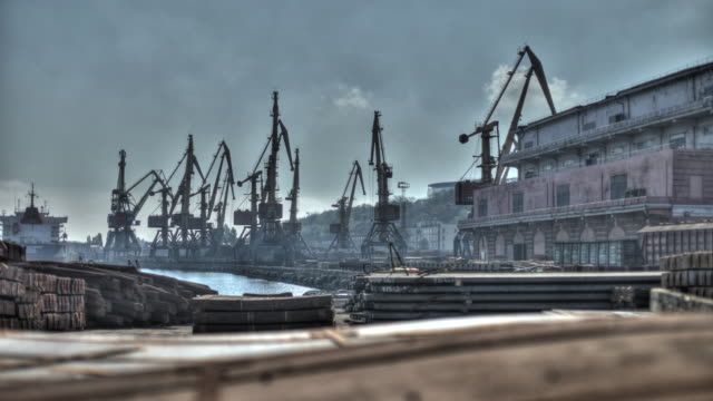 Time lapse shot of cranes in motion along Odessa's dockside.