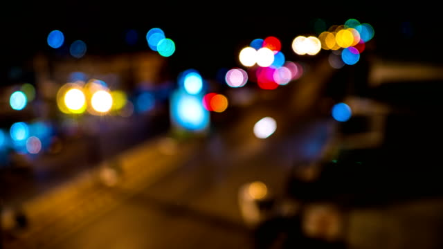 Time lapse shot of defocused traffic light, aerial view