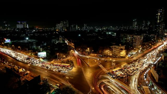 time lapse shot of haji ali junction, mumbai - chaos stock videos & royalty-free footage