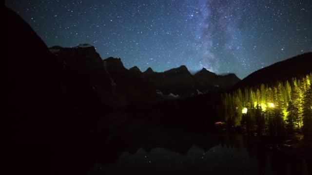 vídeos de stock, filmes e b-roll de time lapse shot of mountain range by lake with reflection against milky way at night - banff, canada - espaço e astronomia