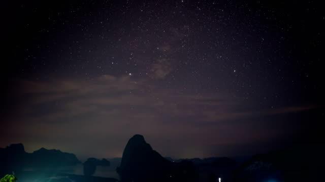 Time lapse shot of Night Sky on Scenic Mangrove Forest Bay, Samet Nang She Viewpoint, Phang-Nga Bay, Thailand