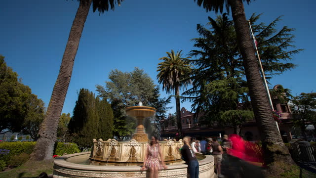 time lapse shot of people around fountain at vina del mar park while exploring during vacation - british columbia, canada - fast motion stock videos & royalty-free footage