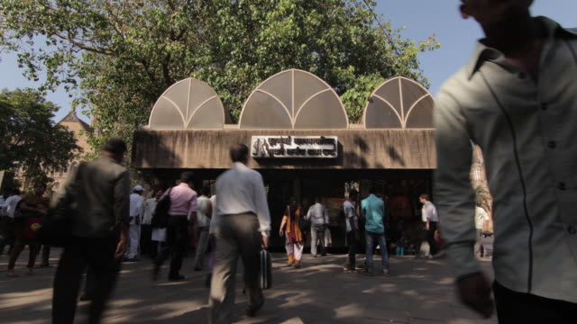 Time lapse shot of people entering a subway station in Mumbai.