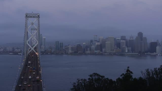 Time lapse shot of San Francisco_Oakland Bay Bridge over San Francisco Bay in city