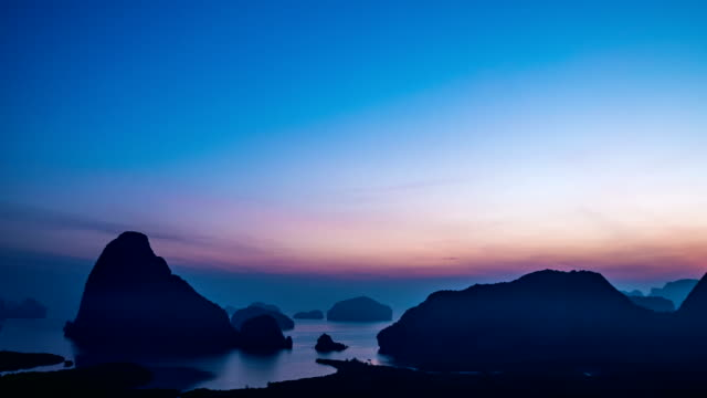 time lapse shot of scenic samet nang she view point in the morning, phang-nga, thailand - phang nga bay stock videos and b-roll footage