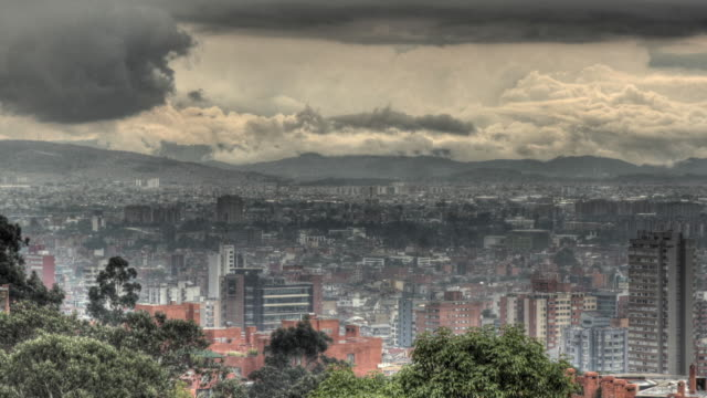 Time lapse shot of storm clouds moving over the city of Bogota.