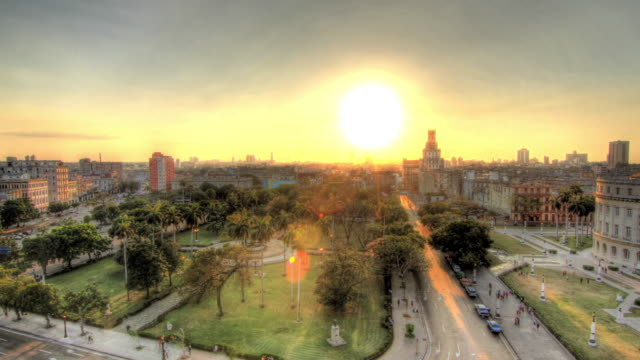 Time lapse shot of the sun setting over the city of Havana.