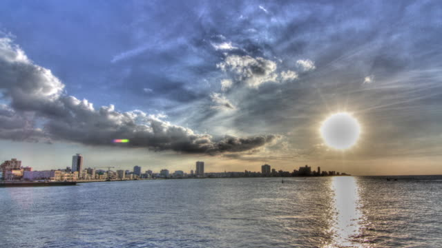 Time lapse shot of the sun setting over the seafront of Havana.