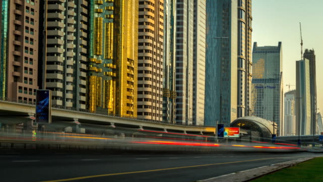Time lapse shot of traffic moving along a road in central Dubai.