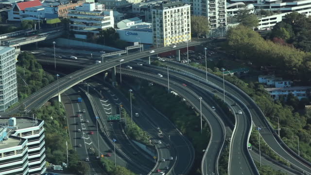 Time lapse shot of traffic on elevated roads, Auckland, New Zealand