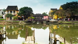 Time lapse shot, view of Japanese Bridge at Hoi An ancient town, Vietnam