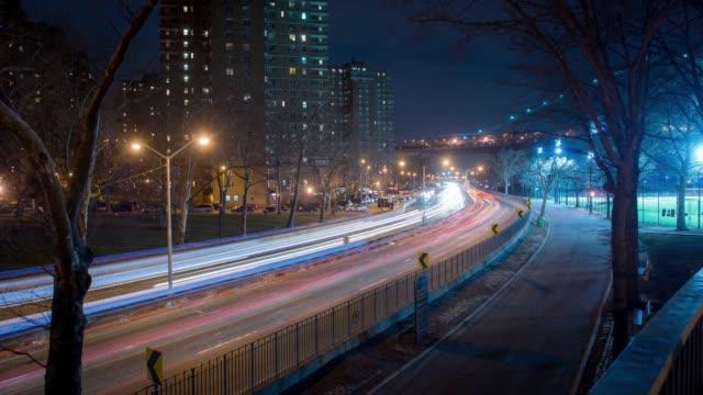 night traffic time lapse - new york city skyline stock videos & royalty-free footage