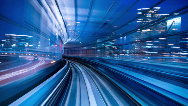 4k tids fördröjning: sightseeing från automatisk tåg på natten, tokyo, japan-stock video - järnvägstransport transport bildbanksvideor och videomaterial från bakom kulisserna