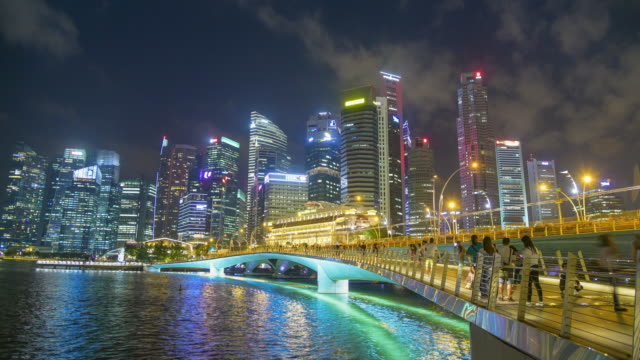 Time lapse Singapore cityscape and People walking in Singapore City