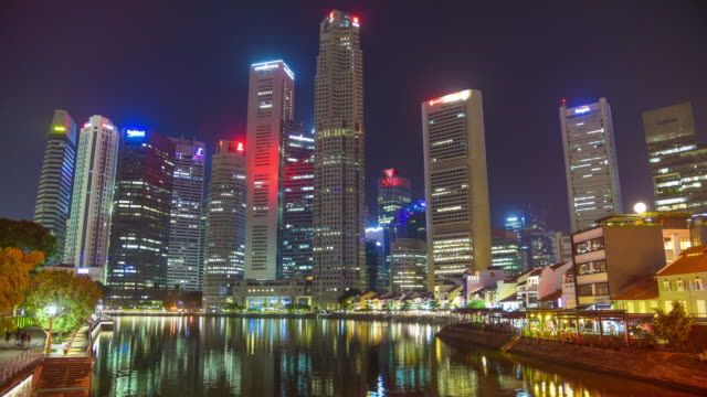 time lapse singapore cityscape and people walking in singapore city - merlion fictional character stock videos and b-roll footage
