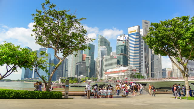 time lapse singapore cityscape and people walking in singapore city - marina bay singapore stock videos and b-roll footage