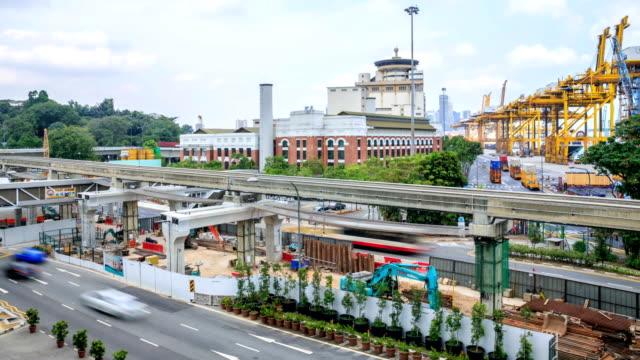 vídeos de stock, filmes e b-roll de lapso de tempo de alta definição: cingapura construção site - full hd format