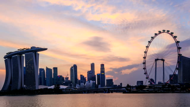 Time lapse : Singapore Skyline and view of Marina Bay