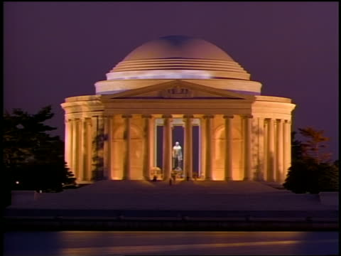 Time lapse sky darkening behind and people walking on steps of Jefferson Memorial at dusk / Washington D.C.