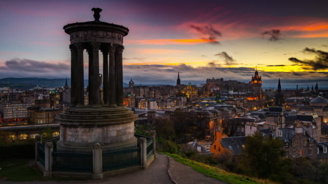 time lapse: skyline of edinburgh from calton hill at dusk - scotland,uk - column stock videos & royalty-free footage