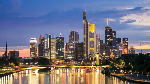 4k time lapse : skyline of frankfurt am main - main tower stock videos and b-roll footage