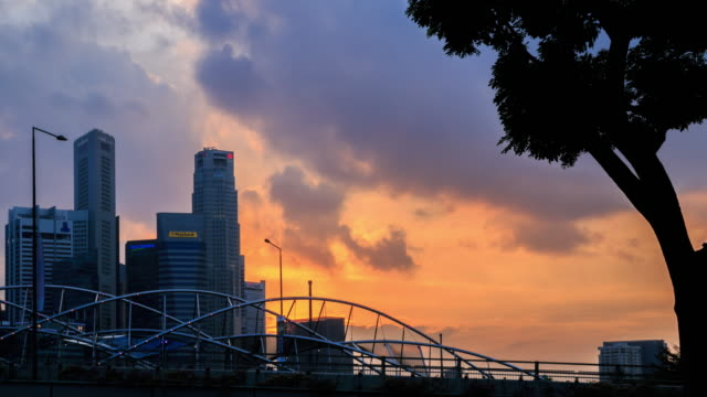 4k time lapse :skyline of marina bay, singapore - singapore flyer stock videos and b-roll footage