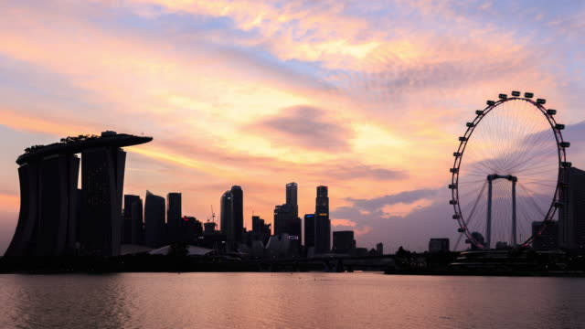 4k time lapse :skyline of marina bay, singapore - marina bay sands stock videos and b-roll footage