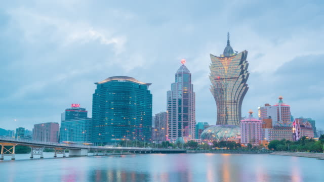Time Lapse : Skyline of resort casinos at Nam Van Lake