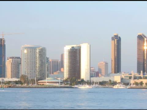 Time lapse skyline San Diego panning video