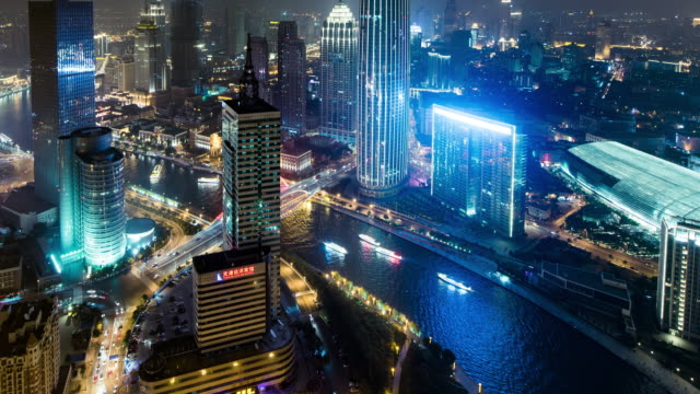 time lapse- skyscraper skyline panorama rooftop tianjin, china - hai river stock videos & royalty-free footage