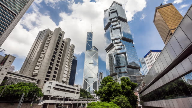 time lapse - skyscrapers in hong kong - central district hong kong stock videos and b-roll footage
