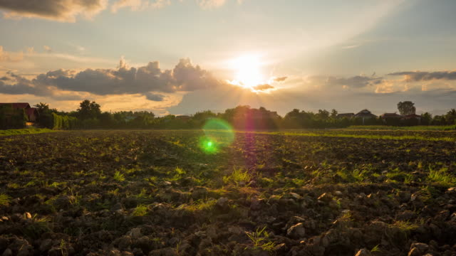 time lapse soil preparation and sunset. - tractor stock videos & royalty-free footage