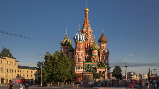 time lapse - st basil's cathedral and red square (panning) - st. basil's cathedral stock videos and b-roll footage